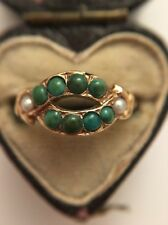 Victorian Antique Yellow Gold Pearl And Turquoise Unusual Ring