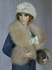 "Allfordoll Mink FUR wool COAT for 16"" Tonner Tyler Ellowyne Ficon Sybarite Dolls"