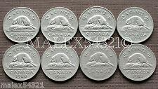 1977 TO 1983 ELIZABETH II 5 CENT SET (8 COINS) NICKEL CIRCULATED
