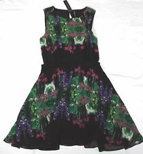 BNWT WALTER BAKER M EUR 34 BLACK FLORAL VERONICA A LINE SLEEVELESS SUMMER DRESS