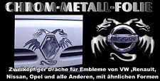 3 D Chrom Sticker zweikopf Drachen für VW Mercedes Nissan BMW OPEL Renault Kia