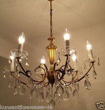 alter Deckenlampe Kronleuchter Messing Kristalle Kristalllüster