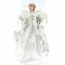 """Vintage Silver Angel Christmas Tree Topper Figurine Feather Wings 16"""""""