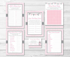 Modern Pink Chevron Baby Shower Games Pack - 6 Printable Games