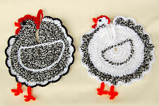 Chicken decoration pot holders set of two,rooster and hen,Easter decotation