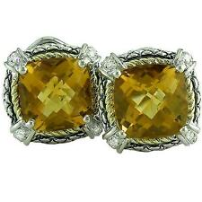 18kt & Sterling Silver Cushion Citrine Diamond Omega Clip Earrings ACE07/20-C