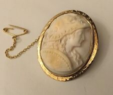 Vintage 9ct 9k Gold Angel Skin Coral Cameo Athena Minerva With Zeus Mask Helmet