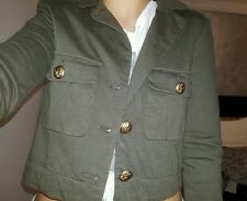 military style gold button up crop outerwear sportsgirl size XS