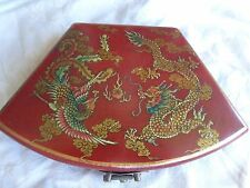 VINTAGE ORIENTAL CHINESE EMBOSS DRAGONS BIRDS LEATHER? CALLIGRAPHY BOX