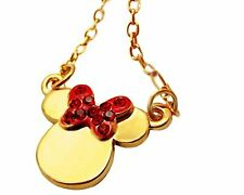 NEW Disney Minnie Mouse 80th Anniversary necklace gold color Swarovski