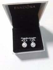 Pandora Delicate Sentiments Earrings #290596P White Pearl & Clear CZ