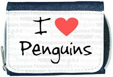 I Love Heart Penguins Denim Wallet