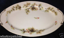 "KYOTO JAPAN FOREST 12 1/4"" OVAL SERVING PLATTER PINE CONES AUTUMN LEAVES"