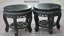 "12""china Antique Furniture rosewood wood chair bench Stool Racks Cone frame pair"