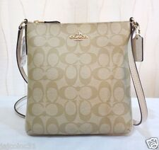NEW Coach 35940 Signature PVC Leather Crossbody Bag Swing Pack Light Khaki/Chalk