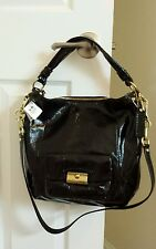 NWT MINT CONDITION COACH KRISTIN PATENT LEATHER HOBO BAG PURSE 16013 BLACK GOLD