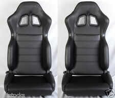 NEW 2 BLACK PVC LEATHER RACING SEATS + SLIDER RECLINABLE ALL FORD *