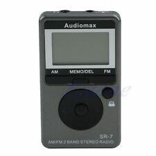 AM FM Digital Portable 2 Bands Electric Tuning Stereo Radio Receiver + Earphone