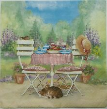 BREAKFAST IN THE GARDEN 2 single LUNCH SIZE  paper napkins for decoupage 3-ply