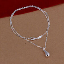 SINGLE STERLING SILVER PLATED TEARDROP PENDANT NECKLACE JEWELRY Length 18""