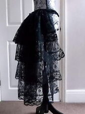 M Stunning long Black bustle skirt moulin rouge burlesque steam punk tutu lace