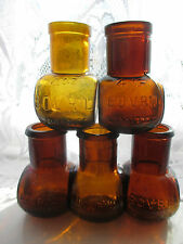5x SUPERB AMBER BOVRIL VINTAGE OLD ANTIQUE ADVERTISING JARS BOTTLES POTS FLOWERS