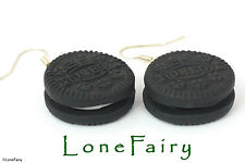 Polymer Clay Oreo Biscuit Silver Plated Earrings Food Jewellery Black Kitsch