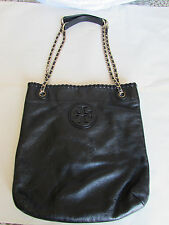Tory Burch 'Marion' Black Leather Book Bag Cross-body $395 061718