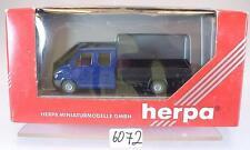 Herpa 1/87 042871 Mercedes Benz Sprinter LKW Pritsche neutral blau OVP #6072