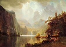Huge Oil painting In the Mountains sunrise landscape Albert Bierstadt canvas 36""