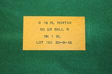 """WWII British 3 Inch Mortar Round Stencil (Pattern 1) 1/4"""" Stencil Letters"""