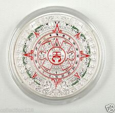 Mayan Aztec Calendar Stone Medallion SILVER-PLATED, Colored, Clear Plastic Case