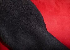 Suede Backed Sherpa Fleece Sheepskin Fabric Material - BLACK RED