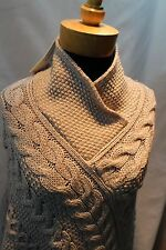 Inis Crafts Irish Cable Knit 100% Merino Wool Poncho Cape/Shawl in Beige size S