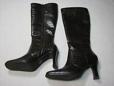 7 M Michael Shannon Ladies Brown Faux Leather Womens High Heel Boots Sandy Shoes