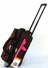 "20"" 40LB BLACK W LARGE PINK POLKA DOT ROLLING WHEELED DUFFLE BAG LUGGAGE CARRYON"