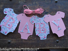 4 Bunting Flags Banners Garland Onesies BABY Vintage Baby Shower Pink DIY P3