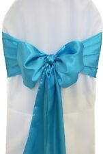 "100 Blue Turquoise Satin Chair Cover Sash Bows 6""x108"" Banquet Wedding Made USA"