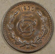 1930 Mexico 5 Centavos BU with a fair amount of Red Remaining