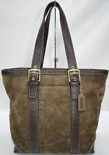 Coach Hamptons Brown Suede Leather Trim Medium Zip Tote Shopper Bag 10196