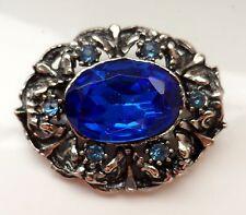 Vintage 50/60s Silver Tone Deep Sea Blue Diamante Brooch