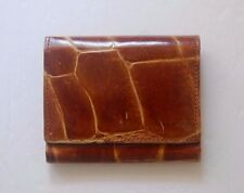 Vintage Men's Small Square Leather Croc Embossed Coin Wallet Pouch Germany