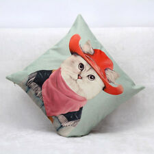 Quirky Cowboy Cat Cushion Cover Throw Pillow Decor Decorative Gift Present