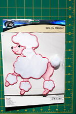PINK POODLE EMBROIDERED APPLIQUE SEW ON FABRIC SKIRT PATCH WRIGHTS 1931036001WM
