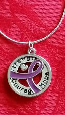 "18"" ALL CANCER AWARENESS ALZHEIMER RIBBON HOPE COURAGE STRENGTH PENDANT NECKLACE"