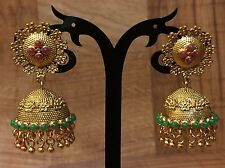 New Indian Pakistani Ethnic Bollywood Gold Plated Green Pink Jhumki Earring