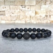 Mens Matte Onyx Gunmetal Disco Zircon Ball Bracelet Gemstone Beaded Bracelet