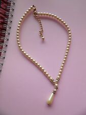 PRETTY CREAM IMITATION PEARL Y SHAPED NECKLACE WITH TEARDROP & CRYSTAL SPACERS
