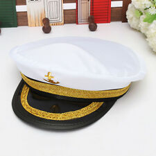 Adult Yacht Captain Hat Skipper Sailor Boat Marine Anchor Cap Navy Costume Party