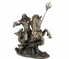 Poseidon With Trident Sculpture Riding On Hippocampus Greek God of the Sea
